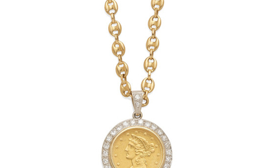 A gold and diamond coin pendant