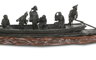 A large and impressive bronze group of figures on a ferry on matching wood stand