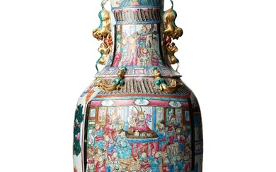 A massive famille rose Canton vase, Qing dynasty, 19th Century.