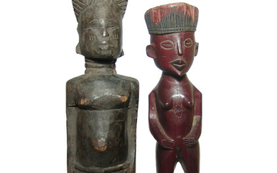 A pair of African wooden female figures
