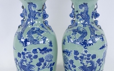 A pair of Chinese blue and white celadon glaze porcelain vas...