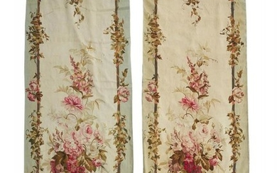A pair of French entrefenêtre tapestries in Aubusson taste