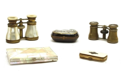 A pair of French mother of pearl and gilt metal opera glasses