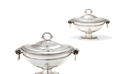 A pair of George III silver oval pedestal sauce tureens and covers by Paul Storr