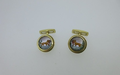 A pair of dog and pheasant Essex crystals set in 18ct