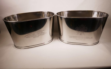 A pair of large chromium plated oval Bollinger champagne buc...