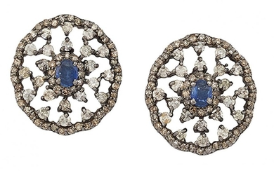 A pair of sapphire, diamond and coloured...