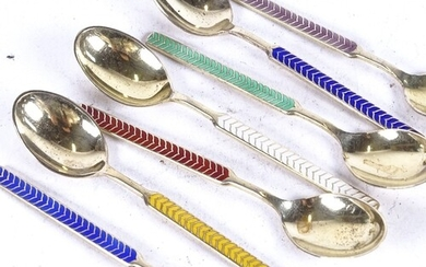 A set of 7 sterling silver and coloured enamel teaspoons, by...