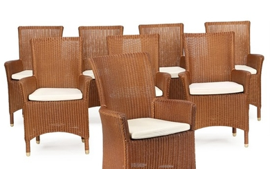 A set of eight Lloyd Loom garden or dining room armchairs with wooden frames. Including cushions. Castle Loom, 21st century.