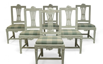 A set of six Gustavian white painted Lindome dining chairs,...