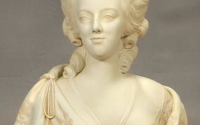 AFTER LECOMTE SEVRES BISQUE BUST 'MARIE ANTOINETTE