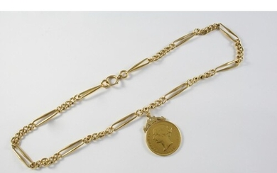 AN 18CT GOLD WATCH CHAIN formed with long and short curb lin...