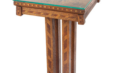 AN AMERICAN FOLK MARQUETRY TABLE, CIRCA 1820S