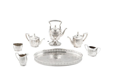 AN AMERICAN STERLING SILVER SIX-PIECE COFFEE AND TEA SERVICE