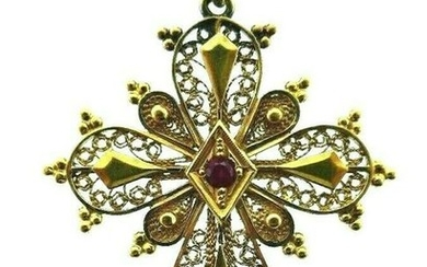 ANTIQUE 14k Yellow Gold & Ruby Cross Circa 1900s