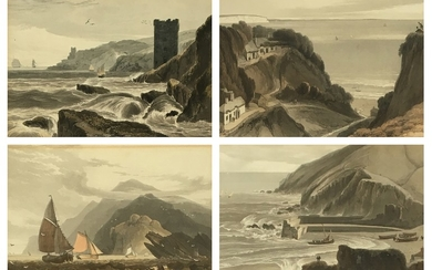 After William Daniell, a set of four hand coloured aquatints...