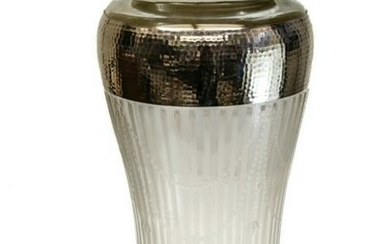 American Sterling Silver Overlay Cut Glass Vase, c900