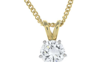 An 18ct gold brilliant-cut diamond pendant, with chain.