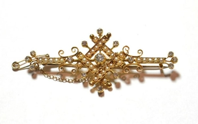 An Edwardian split pearl and diamond brooch, the central old...