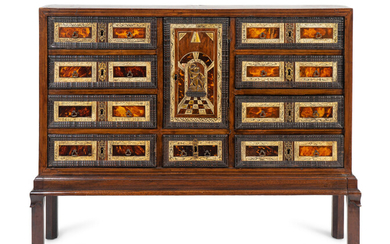 An Italian Inlaid Walnut and Mahogany Cabinet on Later Stand