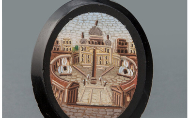 An Italian Micro Mosaic Brooch Depicting St. Peter's Square (late 19th century)