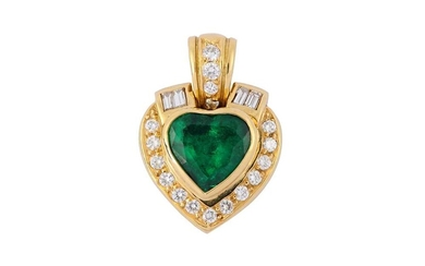 An emerald and diamond pendant, by H. Stern