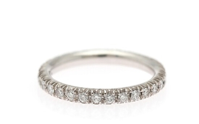 An eternity diamond ring set with numerous brilliant-cut diamond weighing a total of app. 0.54 ct., mounted in 18k white gold. Size 52.