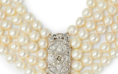 A cultured pearl necklace, with a diamond clasp.