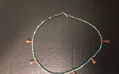 Ancient Egyptian Faience Brownish Poppy Seed Amulets necklace - (1)