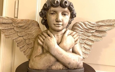 Ancient wooden angel of the nineteenth century - large sacred sculpture - Wood - Mid 19th century