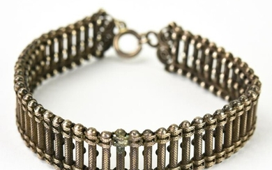 Antique 19th C Sterling Silver Bookchain Bracelet