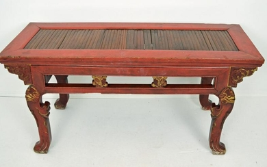 Antique Chinese Red Lacquer Table / Bench