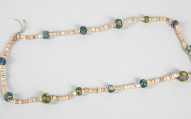 Antique Roma Dragonfly Glass & Agate Beads Necklace
