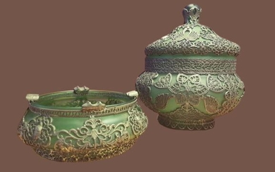 Antique Russian Glass Lidded Jar and Ashtray Green Glass | Silver plated | Late 19th Century (2) - Glass, Silver plated, Metal