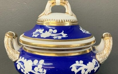 Antique Spode Gilt Blue And White Sugar Bowl