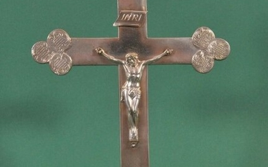 Antique silver Crucifix, Standing Altar Cross with the Corpus Christi - Silver - 19th century