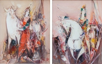 Ashot Tadevosyan: Diptych with horses and ladies named