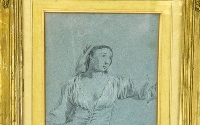 Attributed Pierre Jacques Voltaire Pencil Drawing