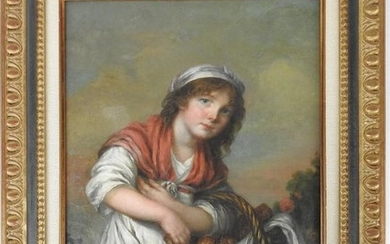 Attributed to Jeanne-Philiberte LEDOUX (1767-1840): Young girl with...
