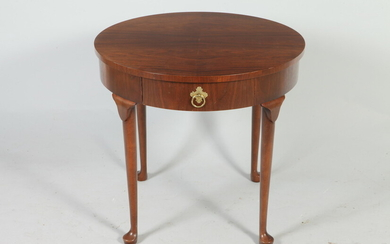 BAKER CO. QUEEN ANNE STYLE MAHOGANY CIRCULAR-TOP SIDE TABLE. One...