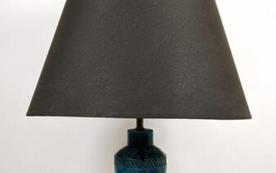 BITOSSI Pottery Table Lamp. Blue glaze with incised de