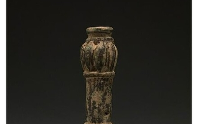 BRONZE AGE DECORATED MACE HEAD ON STAND