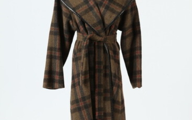 BROWN PLAID WOOL CAPE WITH BROWN LEATHER TRIM, size medium....