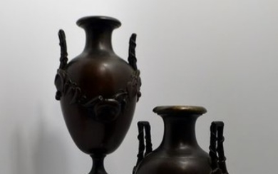 Baluster-shaped vases - Japonism (2) - Bronze (patinated) - Second half 19th century