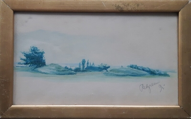 Bertha Dorph: Study in blue, landscape. Signed and dated B. Green 95. Watercolour on paper. Visible size 13.5×27.5 cm. Frame size 17×27.5 cm.