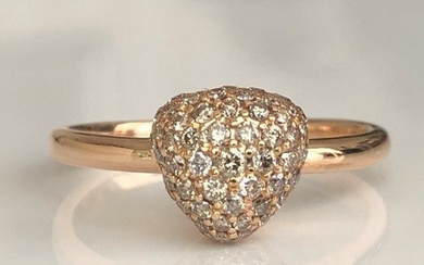 Bigli - 18 kt. Pink gold Ring with 0.64 ct Diamond