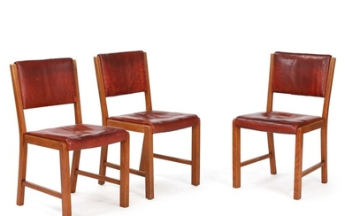 NOT SOLD. Bodil Gøtzsche: Set of three dining chairs with patinated oak frame. Upholstered with...