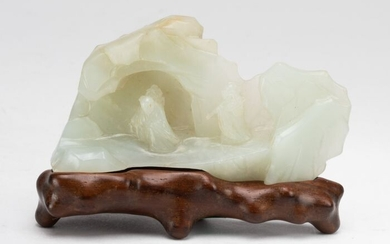 Brushrest - Jade - A Pale Celadon Carved Jade Mountain Brush Rest And Fitted Wood Stand - China - 18th / 19th Century