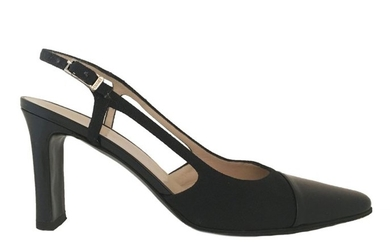 CHANEL. Black patent leather and canvas strappy pumps....