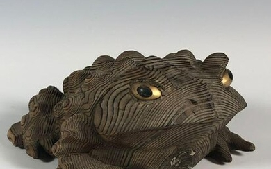 Carved Wood Amphibian Toad